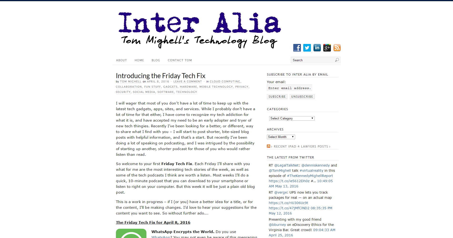Inter Alia Tom Mighell s Technology Blog